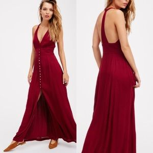 Free People Red All About It Maxi Dress NWOT